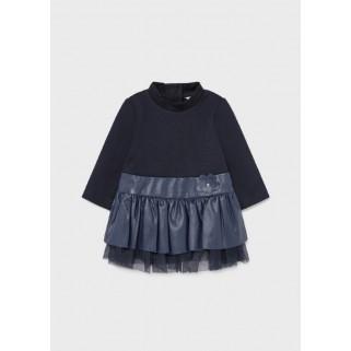 Синя сукня з елементами з еко шкіри Mayoral